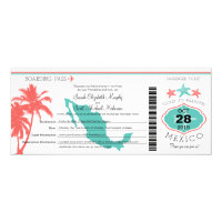 Mexico Palm Tree Starfish Boarding Pass Wedding Card (<em>$2.35</em>)