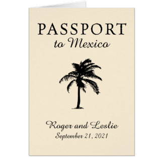 Mexico Passport Palm Tree Wedding Card