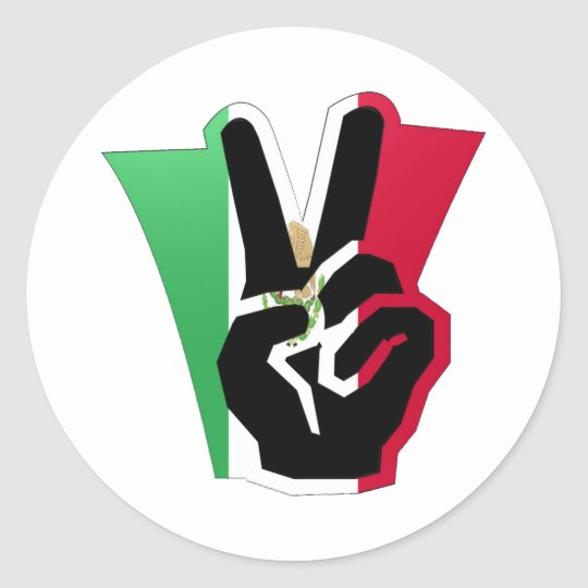 Mexico Peace Fingers Flag Classic Round Sticker