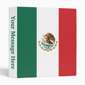 Mexico Plain Flag 3 Ring Binder