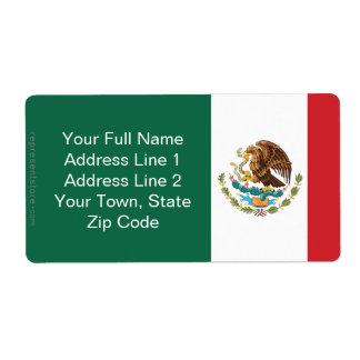 Mexico Plain Flag Personalized Shipping Label