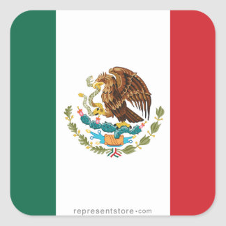 Mexico Plain Flag Square Sticker