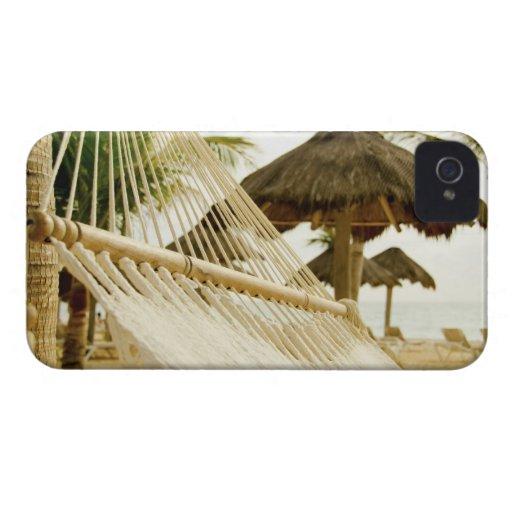 México, Playa del Carmen, hamaca en la playa iPhone 4 Cárcasa