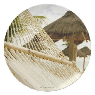 Mexico, Playa Del Carmen, hammock on beach Dinner Plate