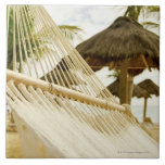 Mexico, Playa Del Carmen, hammock on beach Large Square Tile
