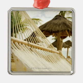 Mexico, Playa Del Carmen, hammock on beach Metal Ornament