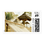 Mexico, Playa Del Carmen, hammock on beach Postage Stamps