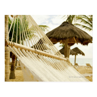 Mexico, Playa Del Carmen, hammock on beach Postcard