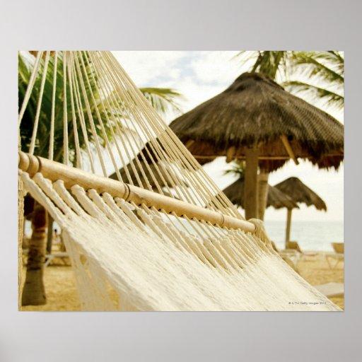Mexico, Playa Del Carmen, hammock on beach Poster