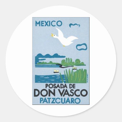 México Posada de Don Vasco Patzcuaro Pegatina Redonda