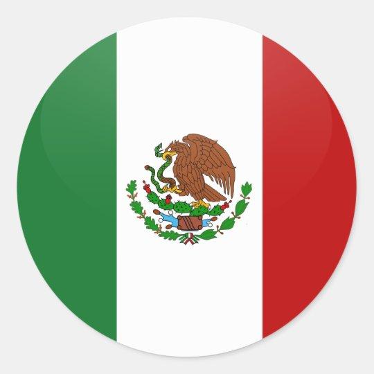 Mexico quality Flag Circle Classic Round Sticker