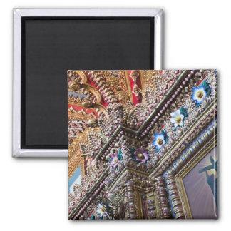Mexico, Queretaro. Detail inside ornate Catholic Magnet
