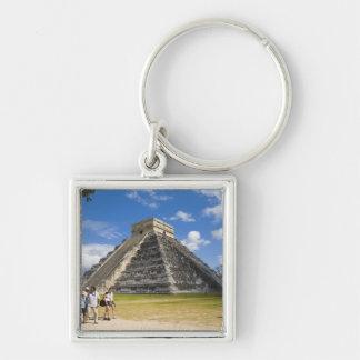 México, Quintana Roo, cerca de Cancun, Chichen 4 Llavero Cuadrado Plateado