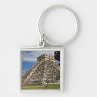 México, Quintana Roo, cerca de Cancun, Chichen 6 Llavero Cuadrado Plateado