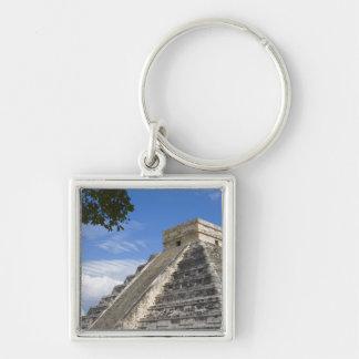 México, Quintana Roo, cerca de Cancun, Chichen Llavero Cuadrado Plateado