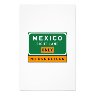 Mexico Right Lane, Traffic Sign, USA Stationery