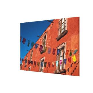 Mexico, San Miguel de Allende. Colorful banners Stretched Canvas Print