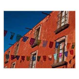 Mexico, San Miguel de Allende. Colorful banners Poster