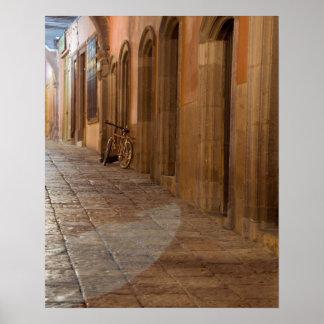 Mexico, San Miguel de Allende, Sidewalk with Poster