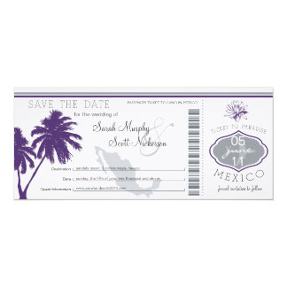 Mexico Save the Date Boarding Pass 4x9.25 Paper Invitation Card