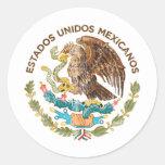 México - sello de los mexicanos de los unidos de pegatina redonda