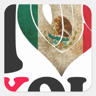 MÉXICO SEÑALA TE AMO   PRODUCTOS POR MEDIO DE UNA COLCOMANIAS CUADRADASS