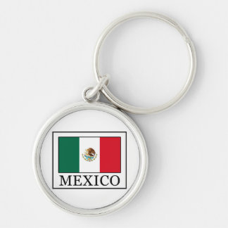 Mexico Silver-Colored Round Keychain
