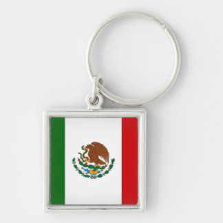 Mexico Silver-Colored Square Keychain