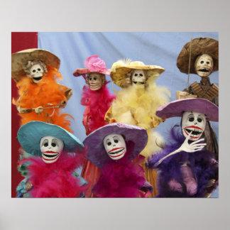 Mexico. Skeletal Catrinas, figures celebrating Poster