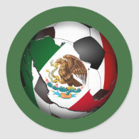 Mexico Soccer Ball Classic Round Sticker