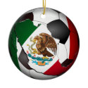 Mexico Soccer Ball Double-Sided Ceramic Round Christmas Ornament