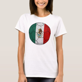 Mexico Soccer Ball Ladies Baby Doll T-Shirt