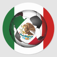 Mexico Soccer Ball w/Flag Colors Background Classic Round Sticker