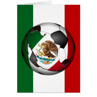 Mexico Soccer Ball w/Flag Colors Background Greeting Card