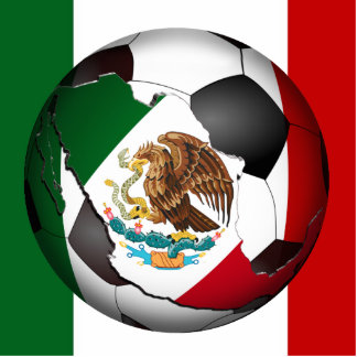 Mexico Soccer Ball w/Flag Colors Background Acrylic Cut Out