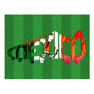 Mexico Soccer Cleat Calligram Postcard