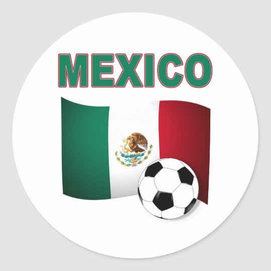 mexico soccer football world cup 2010 classic round sticker