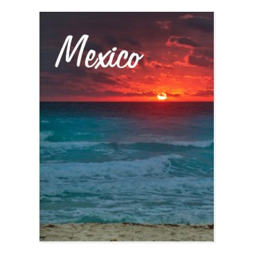 Beach Themed Mexico Sunset Beach Oceanfront Waves Postcard