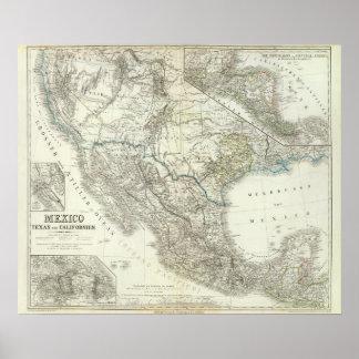 México, Tejas, Californien, C América Posters