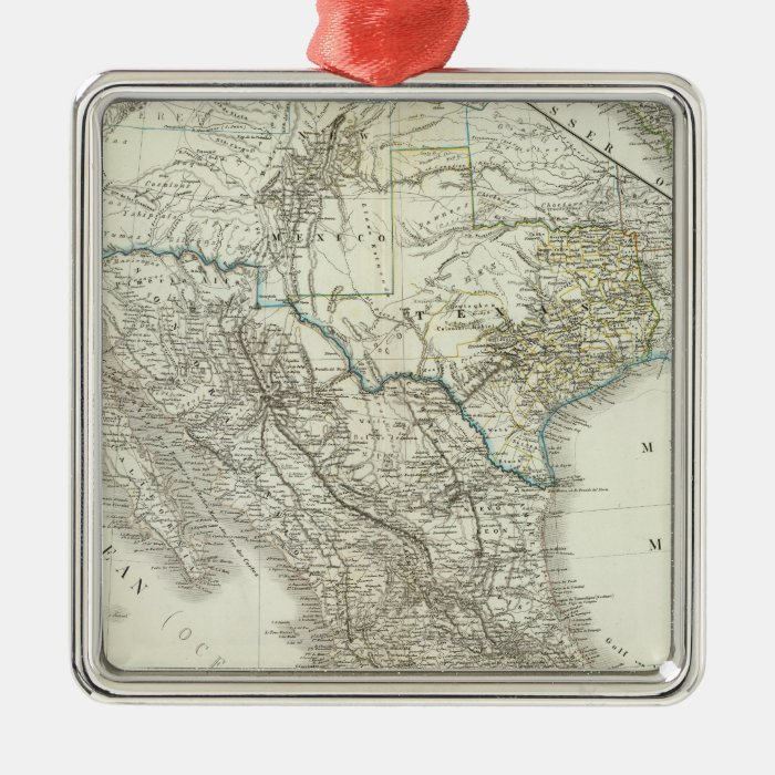 Mexico, Texas, Californien, C America Metal Ornament