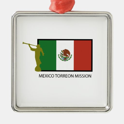 MEXICO TORREON MISSION LDS CTR SQUARE METAL CHRISTMAS ORNAMENT