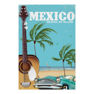 Mexico - travel By Plane travel poster