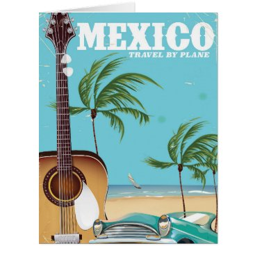 Beach Themed Mexico - travel By Plane travel poster Card