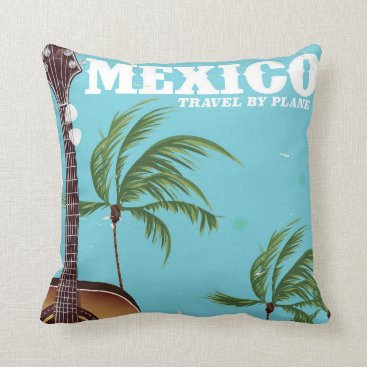 Beach Themed Mexico - travel By Plane travel poster. Throw Pillow