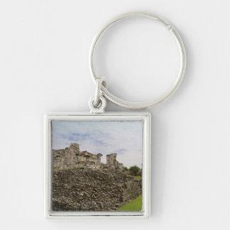 México, Tulum, ruinas antiguas 2 Llavero Cuadrado Plateado