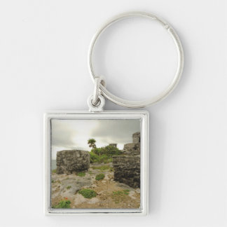 México, Tulum, ruinas antiguas Llavero Cuadrado Plateado