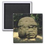Mexico, Villahermosa, giant Olmec head, La Venta 2 Inch Square Magnet