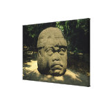 Mexico, Villahermosa, giant Olmec head, La Venta Canvas Print