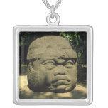 Mexico, Villahermosa, giant Olmec head, La Venta Square Pendant Necklace