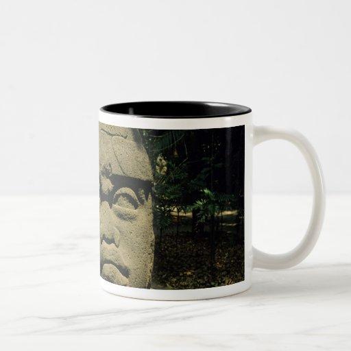 Mexico, Villahermosa, giant Olmec head, La Venta Two-Tone Coffee Mug